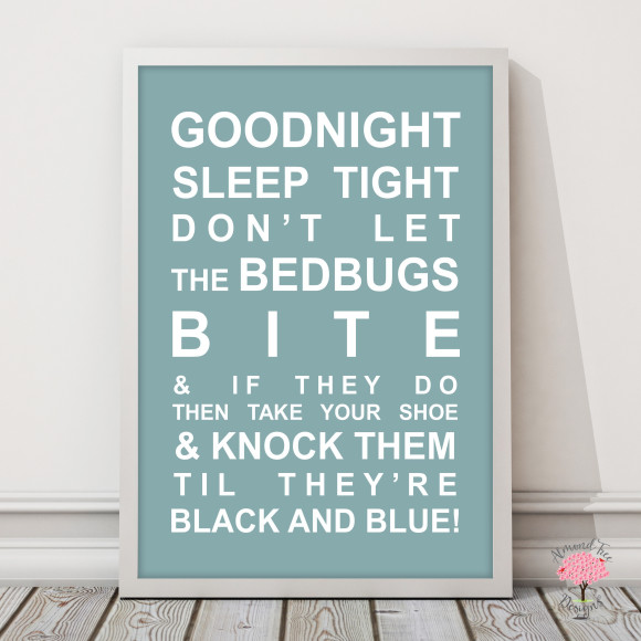 Goodnight Sleep Tight Print in Duck Egg, with optional Australian-made white timber frame