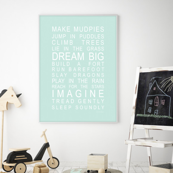 Dreams for Your Boy Print in Mint, with optional Australian made white timber frame