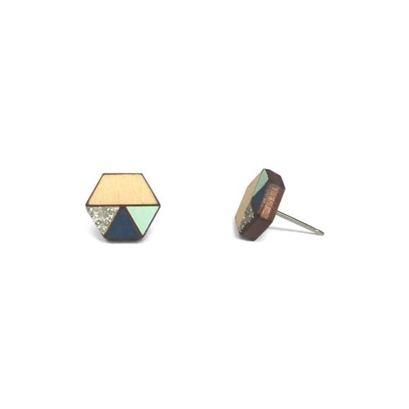 Hexagon geometric earrings in navy, silver glitter & mint