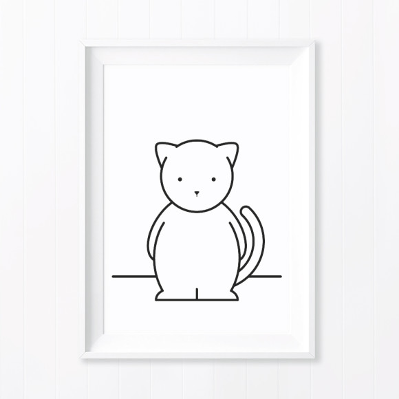 Chloe Cat Monochrome Nursery Art Print