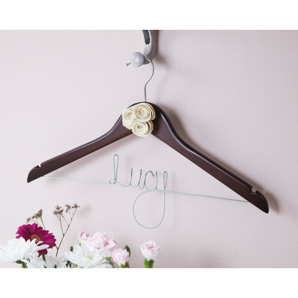 Dark Wood Bridesmaid Hanger Ivory Roses