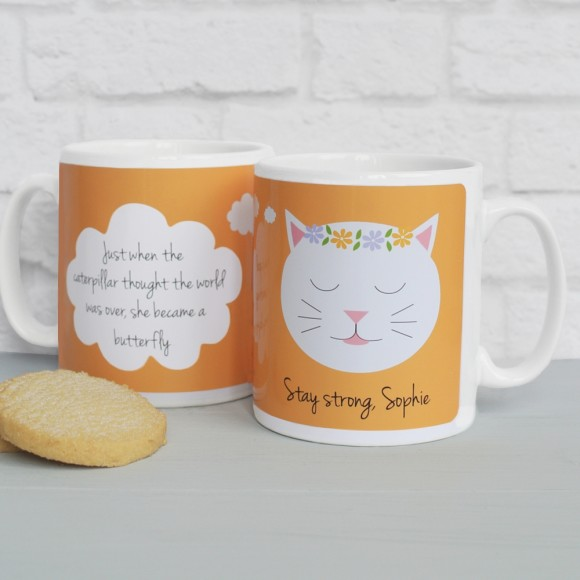 'Just When The Caterpillar..' quote mug Orange