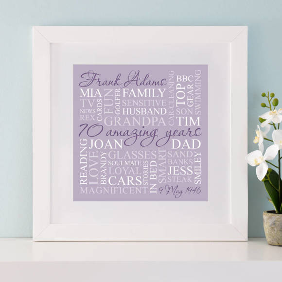chunky white frame - lilac print