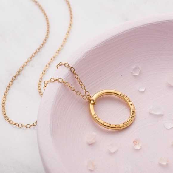 Personalised Circle Necklace in 9ct yellow gold plate