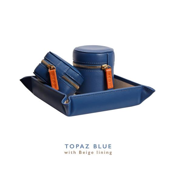 Blue Mens Leather Travel Gift Set