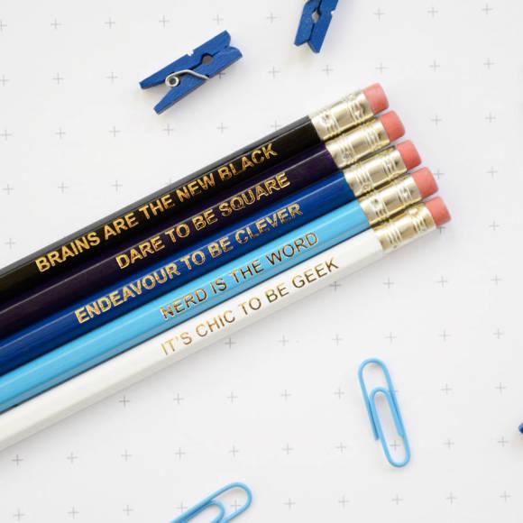 Ombre Blue Geek Pencil Set