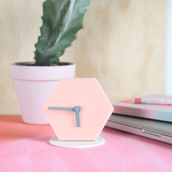 Geo desk clock in blush pink with grey hands
