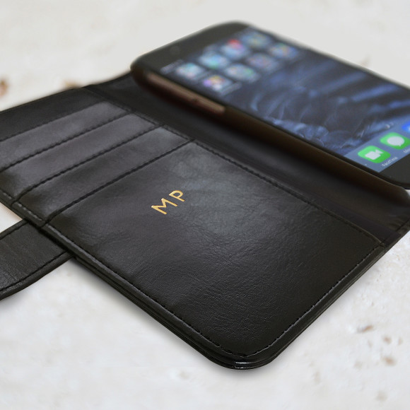 Balck iPhone Case with Gold Interior Initials