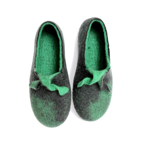 green moustache slippers