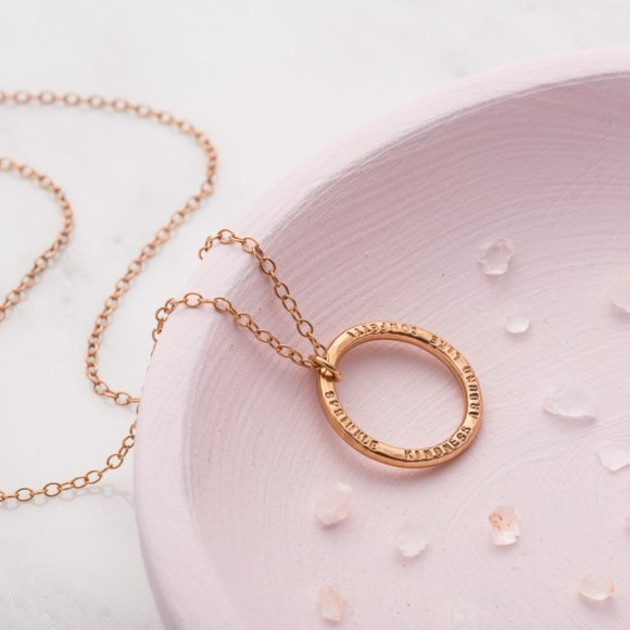 Personalised Circle Necklace in rose gold plate