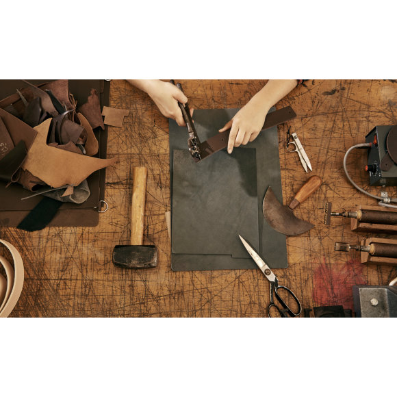 Handcrafted leather goods being made in our Sydney studio