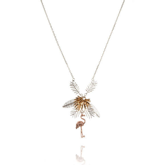 Amanda Coleman flamingo & multi palm leaves necklace