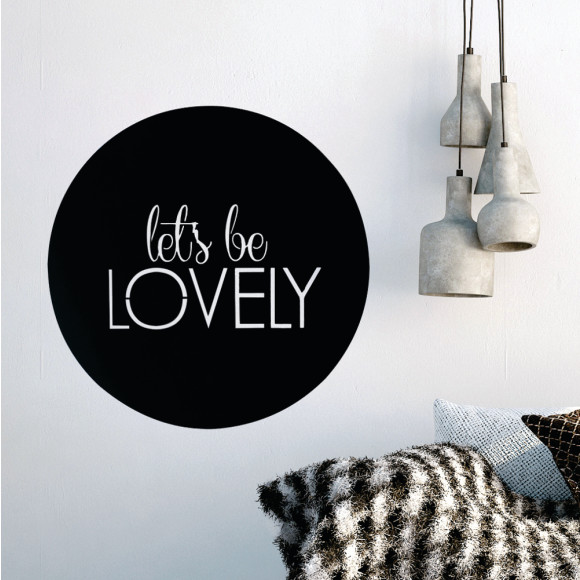 Let's be lovely matt black steel artwork insitu