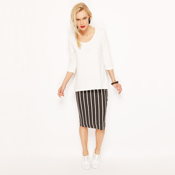 Scoop Neck Top - Ivory with Midi Pencil Skir - Stripe
