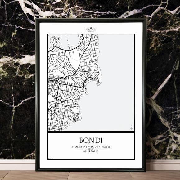Framed minimalist monochrome map of bondi hardtofind gumiabroncs Choice Image