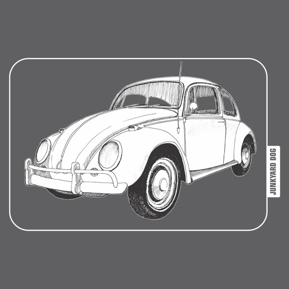 closeup of VW Beetle graphic on charcoal tee