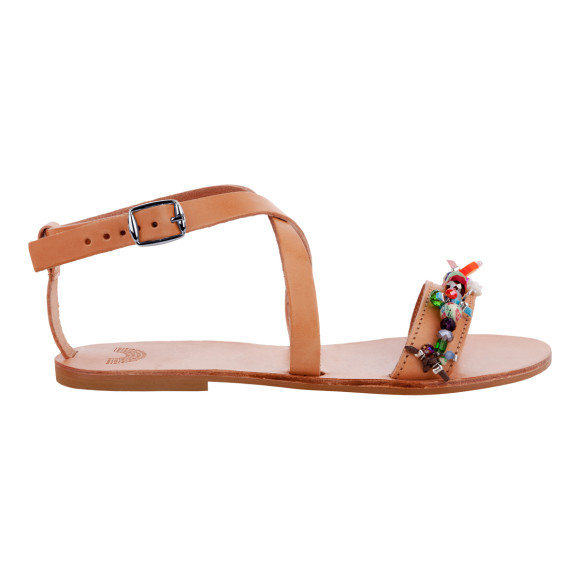 natural leather beaded sandals