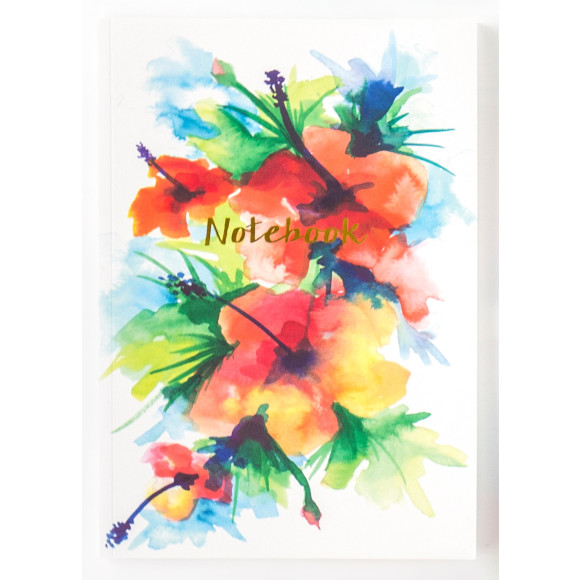 Tropical floral print A4 notebook.
