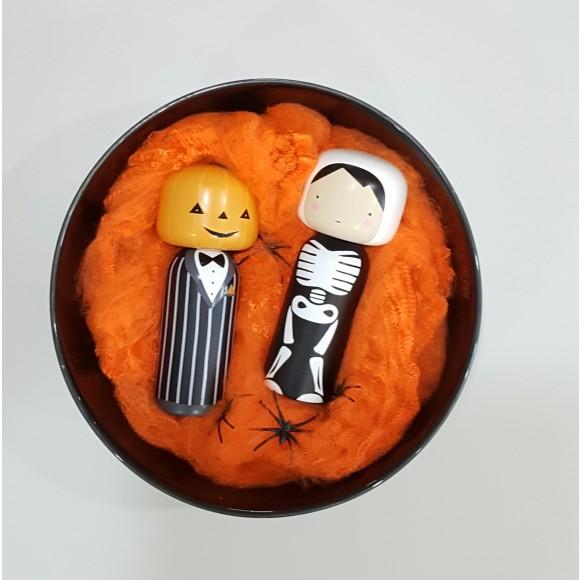 Skeleton with Pumpkin Head