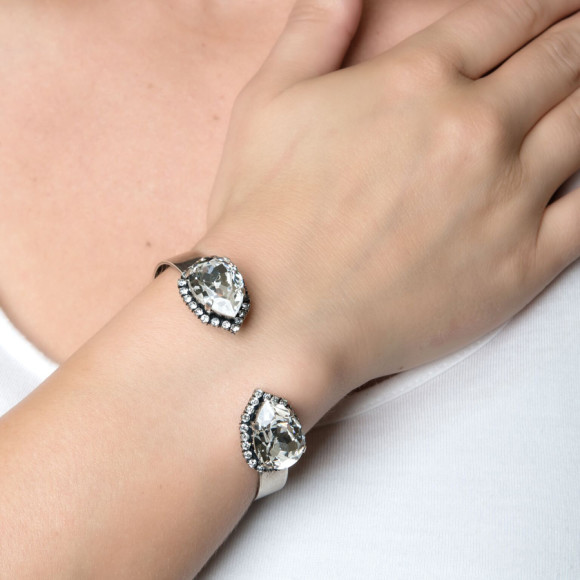 Pear Crystal Cuff Bracelet by Iscah and Mimi