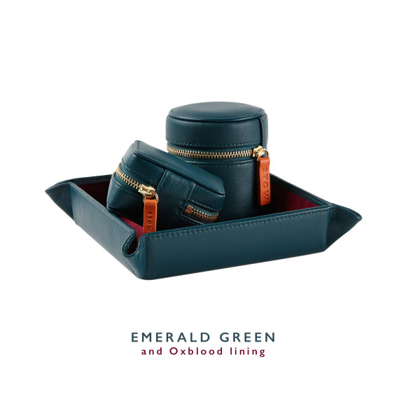 Green Mens Leather Travel Gift Set.