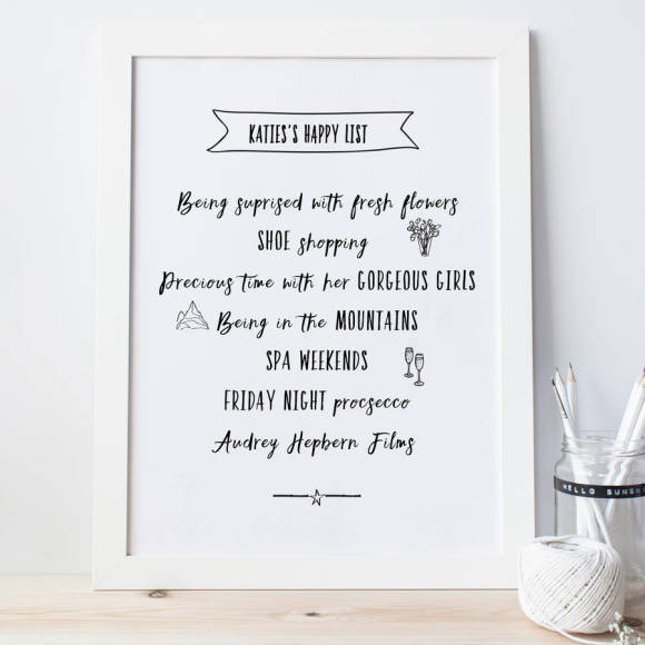 Happy list Print in black and white