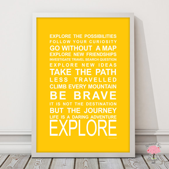 Expressions on the move explore print in Yellow, with optional Australian-made white timber frame