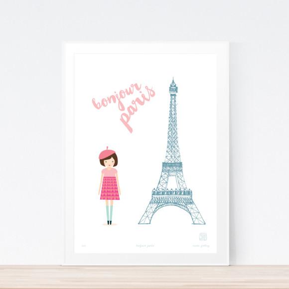 Bonjour Paris Art Print Framed