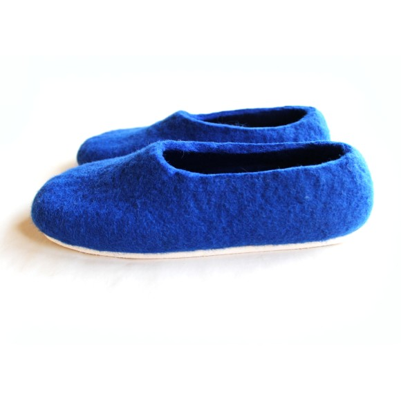 Nautical. White Sole Wool Shoes Blue. Women