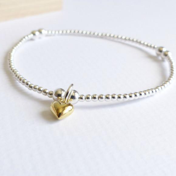 Sterling silver beaded tiny gold heart bracelet