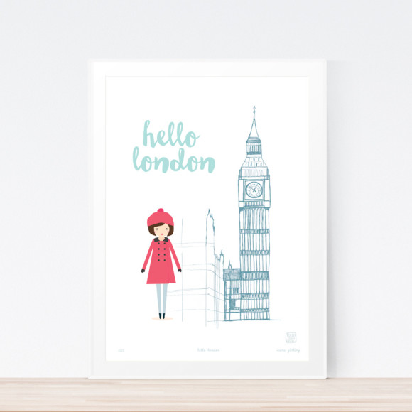 Hello London art print framed
