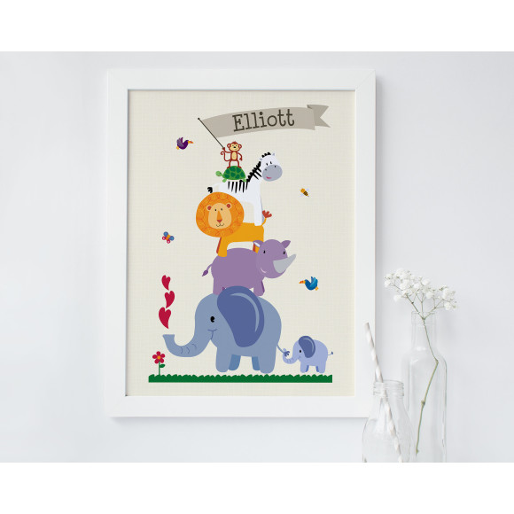 Personalised children's animal nursery art print