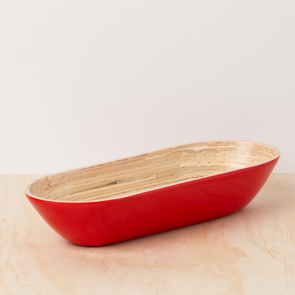 Red Lacquer Bamboo Platter Tray