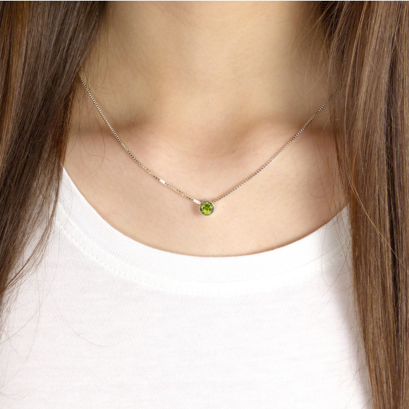 Peridot Necklace on the Neck
