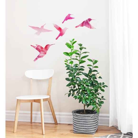 Watercolor bird family wall sticker