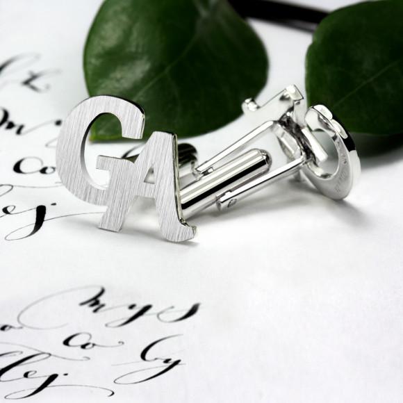 Custom Initials Cufflinks in sterling silver