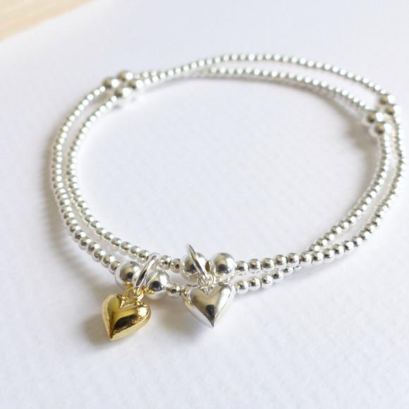 Sterling silver beaded tiny heart bracelet