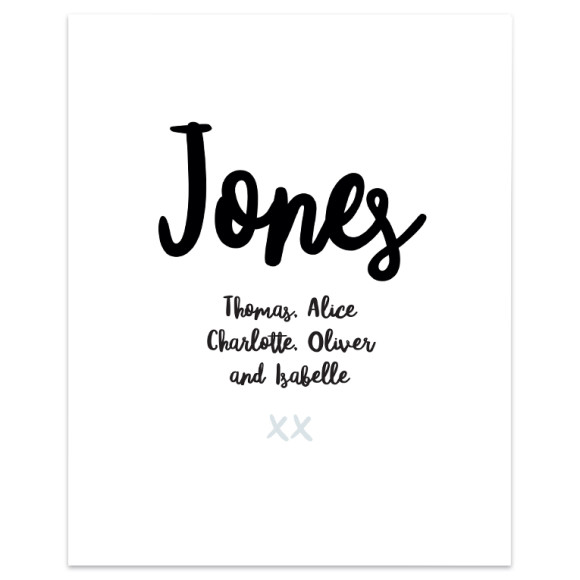 Family Names Art Print (unframed)