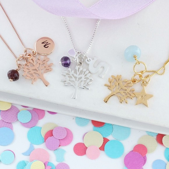 mini sterling silver, rose gold and gold tree of life charm necklace with January, February and March birthstones