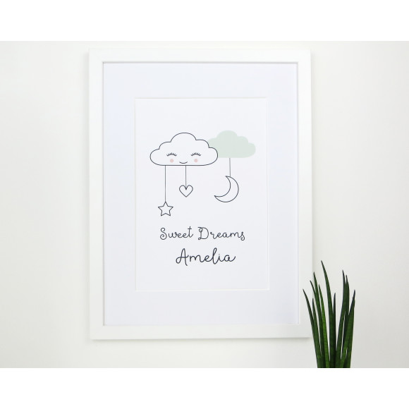 Mint Sweet dreams cloud nursery print