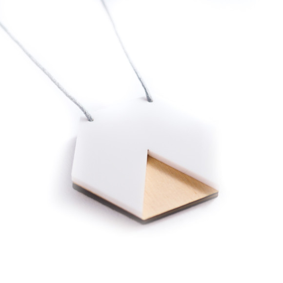 Geo hexagon necklace in white & ply