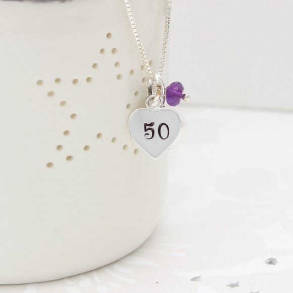 50th birthday necklace with amethyst for february