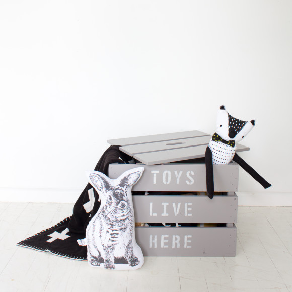 Large toy box crate in French grey with classic cream text