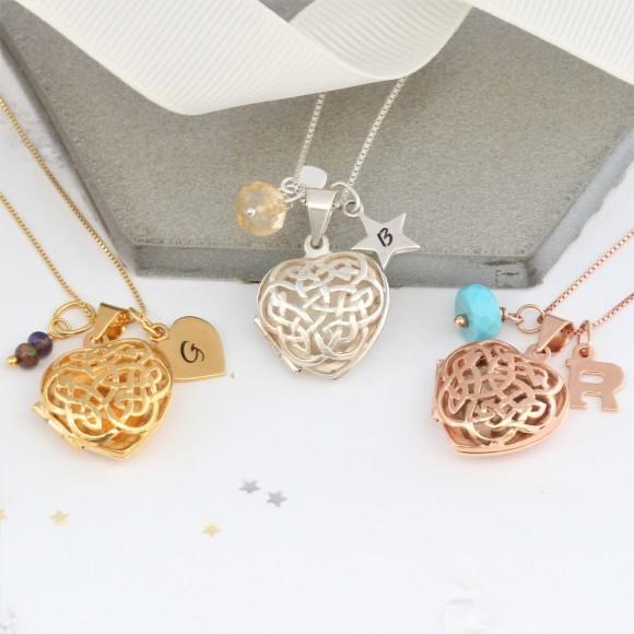 sterling silver rose gold or gold filigree celtic heart locket with October, November and Decemberbirthstones