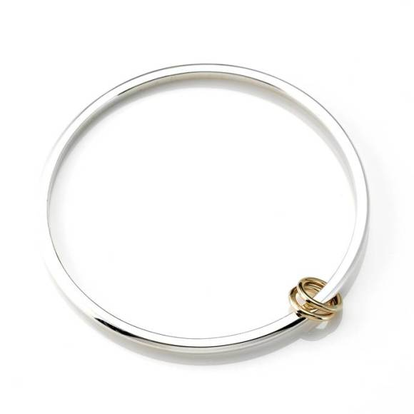 Silver Bangle with 9ct Gold Rings