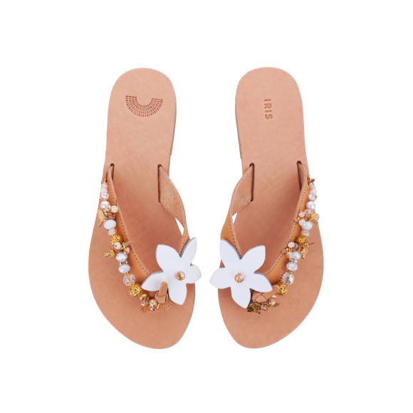 Jasmine leather flat embellished sandals