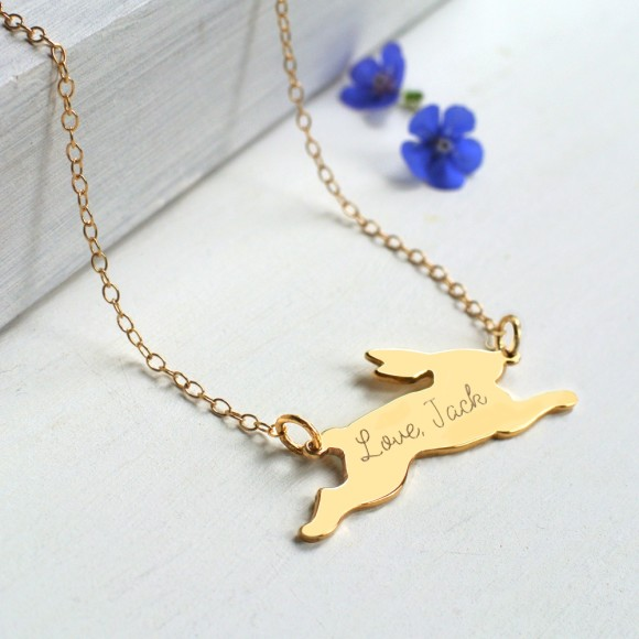 Pesonalised Gold Running Bunny Necklace, reverse