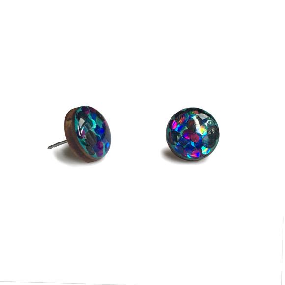 Circle glittered earrings in aqua, purple