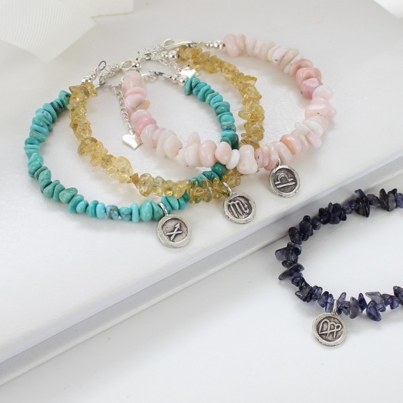 gemstone bracelets with sterling silver zodiac star sign charms