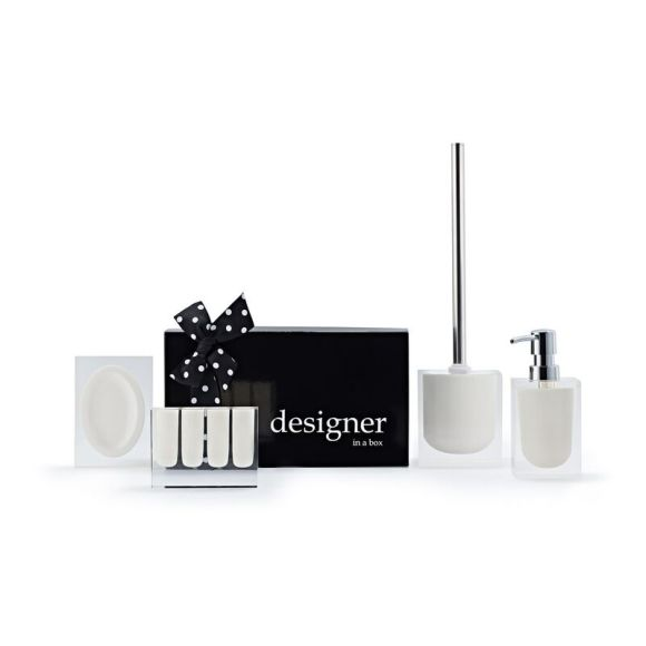 Lucid in Pale Collection, soap/lotion dispenser, toilet brush and soap holder